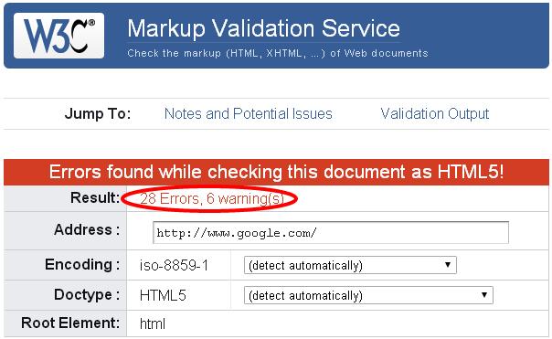 google.com-invalid-W3C-Markup